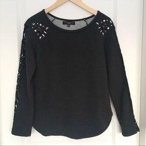 Sanctuary Clothing Embellished Charcoal Sweater